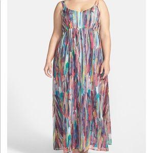 BB Dakota Maxi Dress Multi colored water colored